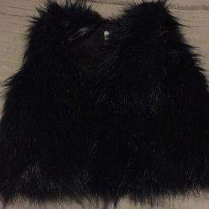 Toddler black fur vest